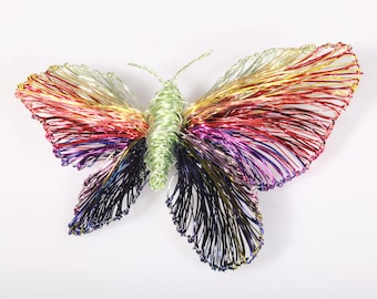 Rainbow butterfly pin, large, colorful, butterfly brooch for dress, wire art sculpture, modern, one of a kind jewelry, anniversary gift