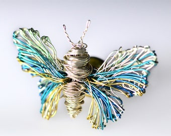 Butterfly brooch, light blue, silver butterfly, cute, jacket pin, wire art sculpture, boho chic, Insect jewelry, Christmas, girlfriend gift