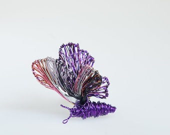 Purple butterfly pin, animal art, insect brooch