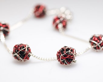 Ball bracelet, red black, silver chain bracelet, delicate, modern minimalist, wire, geometric jewelry, Summer, unique birthday gift women
