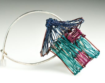 House pin Wire wrapped jewelry Blue brooch Art pin Home brooch Unusual jewelry Wired sculpture art jewelry Newborn gift Cute girl gifts