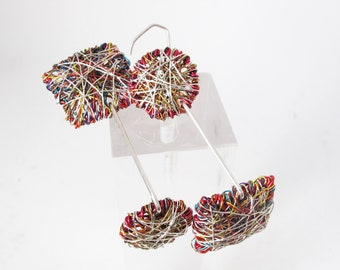 Abstract people earrings - wire sculpture art earrings