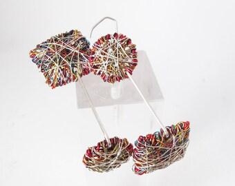 Abstract people earrings - wire sculpture art earrings