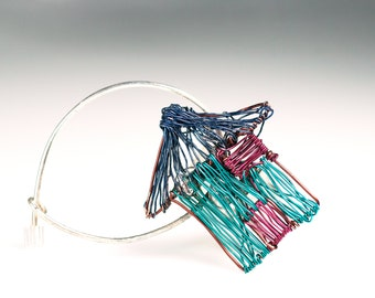 House brooch, Contemporary wire jewelry, Cloth girl brooch, shawl brooch pin