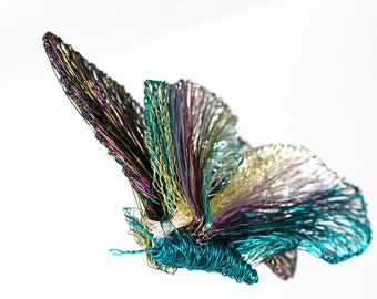 Butterfly brooch pin turquoise, wire jewelry art