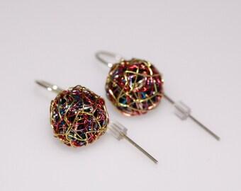 Gold rainbow earrings Ball earrings Short dangle earrings Ball drop earrings Art earrings Wire sphere earrings Modern Minimal Bright jewelry