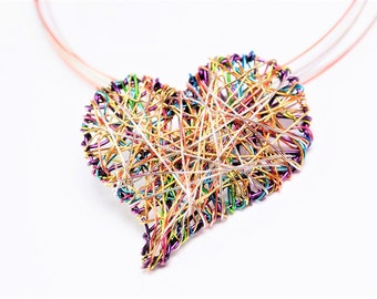 Heart necklace - modern necklace - wire heart necklace - purple heart pendant - contemporary jewelry -   handmade art jewelry - gift for her