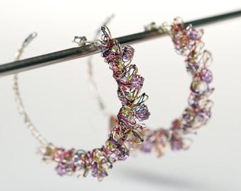 Flower hoop wreath earrings Flower earrings Solid silver purple gold earrings Wire sculpture Art earrings Modern Big hoops Bridal jewelry