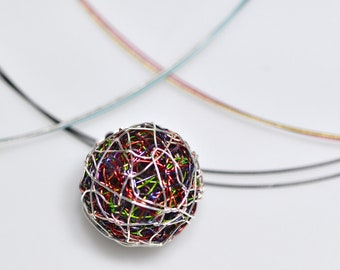 Silver ball necklace, artist jewelry rainbow