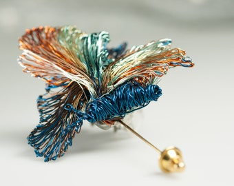 Fairy sculpture art, butterfly pin, statement brooch