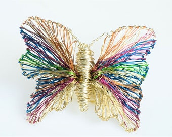 Rainbow butterfly brooch, gold butterfly, dress brooch, cute pin, wire sculpture art, modern, insect jewelry, Summer birthday gift for her