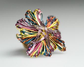 Abstract flower Art pin Flower brooch Metal flower sculpture Wire jewelry Yellow Purple pin Modern brooch Elegant jewelry Cute pin Art gifts