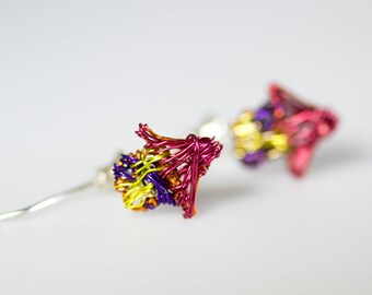 House earring, red yellow, ear pin, threader, long post, wire, home earring, boho hippie, handmade miniature jewelry, Winter, teen girl gift