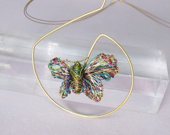 Rainbow butterfly necklace, 14k gold plated, green butterfly, wire sculpture, insect, contemporary art jewelry, anniversary gift for wife