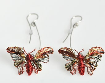 Butterfly earrings dangle Wire sculpture Art earrings Insect jewelry Unique earrings Long red earrings Contemporary Art jewelry Gift for her