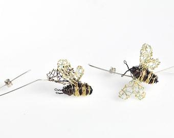 Wire bee earrings hoops, Creative unusual earrings mismatched, Wire art sculpture jewelry
