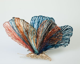 Wire sculpture Butterfly brooch Wearable art jewelry Orange blue Big brooch Creative gifts for art lovers Modern Statement Insect art pins