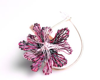 Abstract flower brooch, art pin, statement jewelry