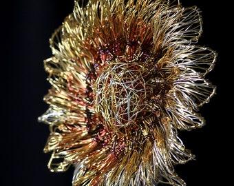 Sunflower brooch Sunflower sculpture wire Modern Art jewelry Gold flower brooch Large brooch Wearable art Whimsical jewelry Metal flower pin