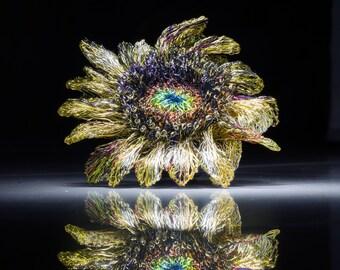 Big Sunflower brooch handmade, wire sculpture art, one of a kind