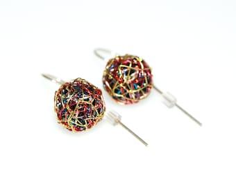 Gold ball earrings, wire art, rainbow earrings