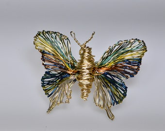 Gold butterfly brooch Art pins Wire wrapped jewelry Blue gold butterflied Insect sculpture Contemporary Art jewelry Cute gifts for women