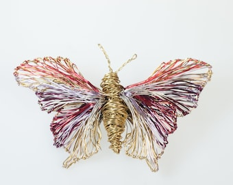 Gold butterfly pin, fine art, insect jewelry