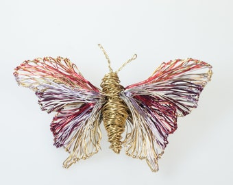 Contemporary art butterfly brooch, Gold insect brooch, Wire butterfly sculpture jewelry