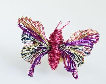 Pink butterfly brooch Art pin Butterfly jewelry Insect Wire wrapped jewelry Unusual brooch Fuchsia Art jewelry Modern hippie gifts for women