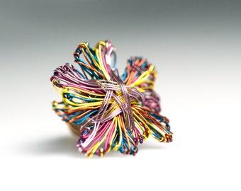 Abstract flower brooch, sculpture wire art pins