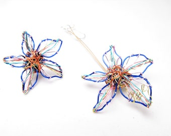 Blue flower earring stud, wire flower earring dangle, different, long earring, modern art jewelry, daisy earrings,  Christmas gift women