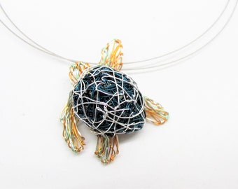 Sea turtle necklace ocean jewelry, Wire turtle sculpture art necklace, Unique necklaces for her