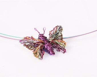 Fairy wing necklace, wire art, butterfly necklace