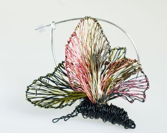 Butterfly brooch, black pin, black pink, unusual, wire, sculptural jewelry, modern boho, jacket pin, Christmas gift for women, Halloween pin