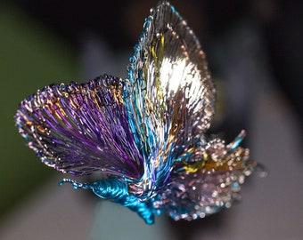 Purple Turquoise butterfly brooch, dress, large brooch, modern, wire butterfly sculpture art to wear jewelry, Winter wedding gift for bride