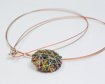 Geometric necklace Round necklace Wire sculpture Minimalist Statement art necklace Yellow Multicolor necklace Cute necklace Circle necklace