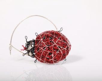 Ladybug jewelry, ladybug pin, dress, ladybird, large brooch, wire art sculpture animal, boho, red jewelry, unusual, ladybug gift for new mom