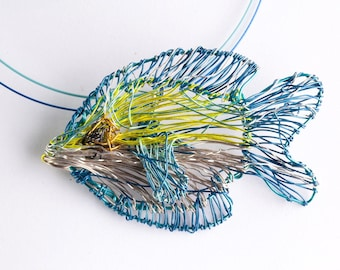 Light blue necklace Fish necklace Ocean jewelry Wire fish sculpture Yellow Art necklace Sea necklace Modern Contemporary Unusual jewelry