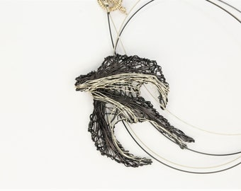 Sparrow necklace, bird necklace for women, black silver, art necklace, boho, wire bird sculpture jewelry, Summer, best friend birthday gift