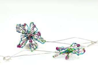 Wire flower art earrings, turquoise daisy earrings mismatched