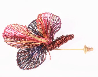 Butterfly brooch, wire sculpture, brown pink, statement, modern boho jewelry, large, insect brooch, Winter, unique, art teacher gift women