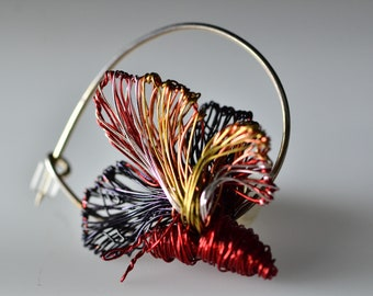 Wire butterfly brooch Red butterfly pin Tiny butterfly sculpture jewelry Art brooch Red bugs Insect jewelry modern Bright colorful jewelry