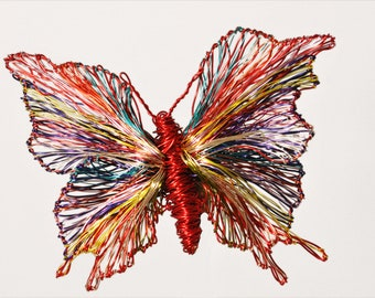 Red butterfly brooch, huge, dress brooch, wire art sculpture, modern hippie, colorful butterfly art jewelry, Summer, unique bridesmaid gift