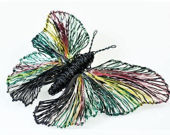 Black butterfly brooch, butterfly jewelry, wire sculpture, insect, large brooch, statement, contemporary, rainbow, Christmas gift women