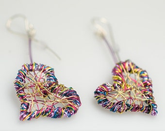 Purple gold heart earrings wire art