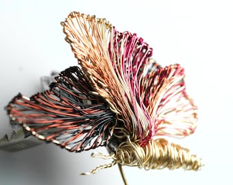 Pink butterfly pin, wire art, fairy tail jewelry