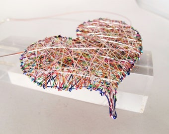 Large heart necklace - modern necklace design - wire heart necklace - rainbow - contemporary jewelry - handmade art jewelry - gift for her