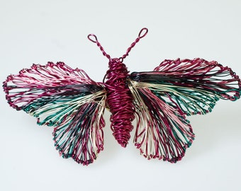 Wire sculpture art butterfly brooch Fuchsia jewelry unique Insect jewelry Distinctive jewelry Unusual brooch Mothers day gift from daughter