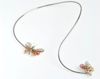 Butterfly necklace wire, wearable art jewelry