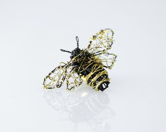 Bee sculpture wire, statement art, bee brooch